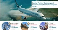 Cathay Pacific: Special Premium Economy and Economy Class Fares from SGD188 with Maybank Cards