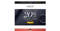 [Gilt] Spend $200, Get an Extra 20% Off | Up to 80% Off Contemporary Picks | This Week's Designer Preview and More Start Now