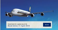 Singapore Airlines: Minimum 2 to Travel Special Fares to Over 90 Destinations from $148
