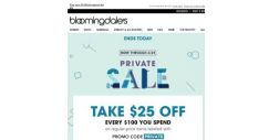 [Bloomingdales] Ends today! Take $25 off every $100