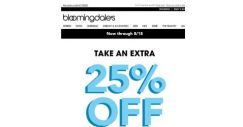 [Bloomingdales] Take an extra 25% off–3 days only!