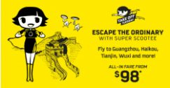 Scoot: Take Off Tuesday Sale with Fares to China from just S$98!
