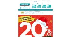 [Watsons] 20% OFF STOREWIDE & ONLINE for Ur 🎄X'Mas Shopping  Needs! 3 DAYS ONLY! ⏰
