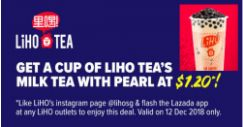 LiHO: Get a Cup of Milk Tea with Pearl at $1.20!