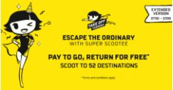 Scoot: Extended Take Off Tuesday Sale – Pay to Go, Return for FREE to 52 Destinations!