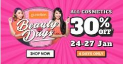 Guardian: Get 30% OFF All Cosmetics at all Guardian Stores & Online!