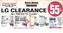 Harvey Norman Factory Outlet: LG Clearance with Up to 55% OFF TVs, Fridges, Washers & More!