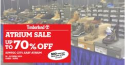 Suntec City: Timberland Atrium Sale with Up to 70% OFF Footwear, Apparel & Accessories!
