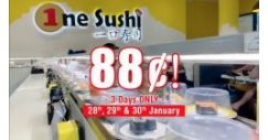 One Sushi: Enjoy 88 Cents++ Per Plate (U.P $1.50++) This CNY!