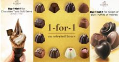 Godiva: Buy 1 Get 1 FREE on Chocolate Twist Soft Serve, 100gm of Bulk Truffles or Pralines & Selected Gift Boxes!