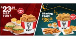 KFC: Get a Meal for 4 at $23.95 or a Sharing Feast at $36.95!