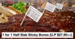 Morganfield's: 1 for 1 Half Slab Sticky Bones (U.P $27.90++) Exclusively for Singtel customers only!