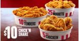 KFC: Chick 'N Share 5 pcs Chicken, 10 pcs Hot & Crispy Tenders or 25 pcs Nuggets at just $10 Each!