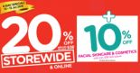 Watsons: STOREWIDE 20% OFF with Min $38 Spend + EXTRA 10% OFF Facial Skincare & Cosmetics