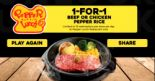 Pepper Lunch: Enjoy 1-for-1 Beef or Chicken Pepper Rice!