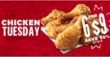 KFC: Enjoy 6pcs of Fried Chicken for only $9 on Tuesdays!