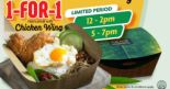 CRAVE: Enjoy 1-for-1 Nasi Lemak with Chicken Wing During Selected Timings!