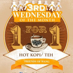 Wang's Cafe offers 1 For 1 Coffee or Tea Promotion on 18 September 2013