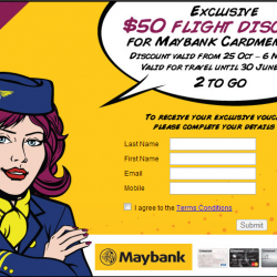 Exclusive S$ 50 Discount for Maybank Cardholders when Book with CheapTickets.sg