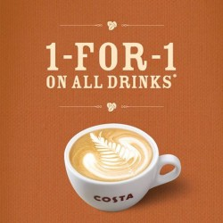 1 for 1 all drinks! New Opening Promotion by Costa Coffee @313 Somerset