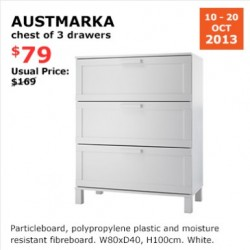 S$90 OFF! AUSTMARKA  Chest of 3 drawers offered at S$79 by IKEA
