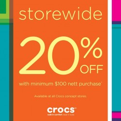 20% OFF! with min spent of S$100 at Crocs