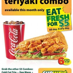 Only at S$5! Chicken Teriyaki Combo at Subway