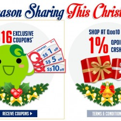 Qoo10 is Giving Out S$16 worth FREE Coupon and 1 FOR 1 Christmas Deals