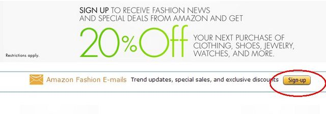 Amazon: Sign up to receive fashion news and special deals