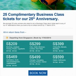 SilkAir 25th Anniversary Promotion