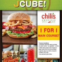 Chili's Buy 1 Get 1 Free Main Course Promotion @ Jcube