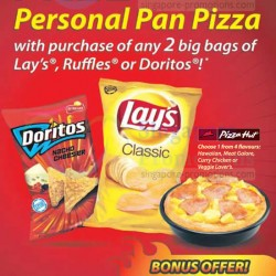 Lays Singapore | FREE Pizza Hut Personal Pan Pizza with purchase of any 2 big bags of Lays