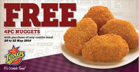 Texas Chicken Singapore | 4pc Nuggets FREE