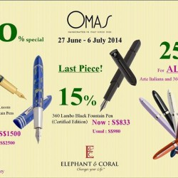 Elephant & Coral | 40% off OMAS Luxury Pen Promotion