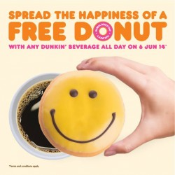 Dunkin' Donuts | get 1 Free Donut with any drink purchased