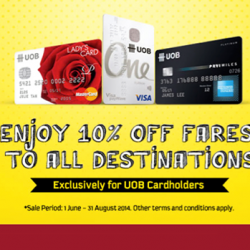 Scoot | 10% off fares to all destinations with UOB cards