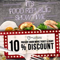 Food Republic | 10% off any purchase plus movie package at $28