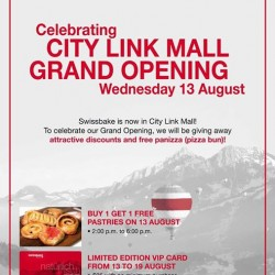 Swissbake | Buy 1 Get 1 Opening special at City Link Mall