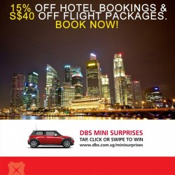 DBS | Extra 15% off hotel bookings & $60 off flight package