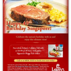Lawry's The Prime Rib Singapore | National Day Promotion
