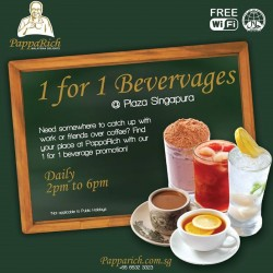 PappaRich | 1 for 1 beverages 2-6 pm daily