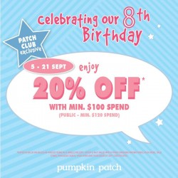 Pumpkin Patch | 20% off with min. $100 spend