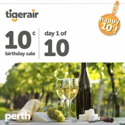 TigerAir | 10¢ tickets to Perth on 8 Sep. 2014