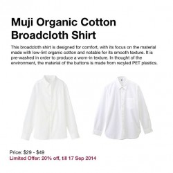 Muji | 20% off Broadcloth Shirt