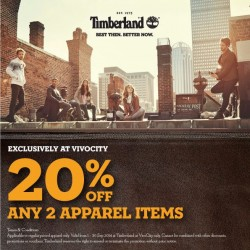 Timberland | 20% off any two regular-priced apparel