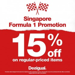 Desigual | 15% off on regular-priced items F1 Promotion