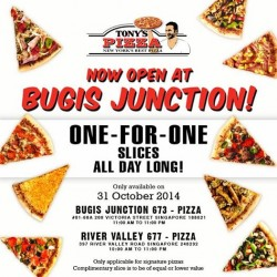 Tony's Pizza | 1-for-1 slices special at Bugis Junction