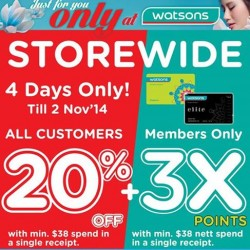 Watsons   weekly hot buys + 20% off storewide