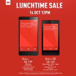 Xiaomi Singapore | Redmi Notes and Mi Power Bank Lunch Time Sale 14 Oct 2014