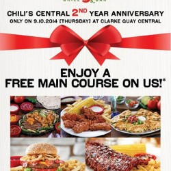 Chili's | Clarke Quay Central 2nd Anniversary with FREE Main Course